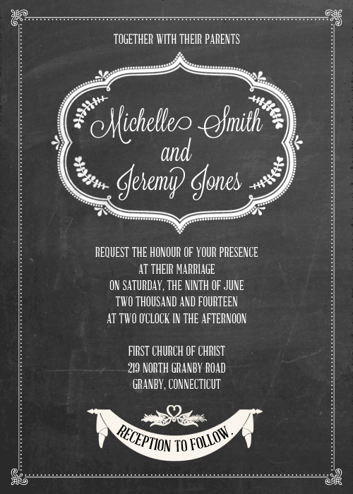 diy wedding invitations chalkboard printable