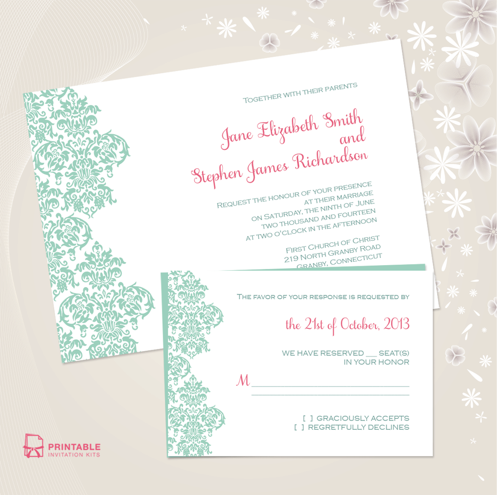 diy wedding invitations damask printable