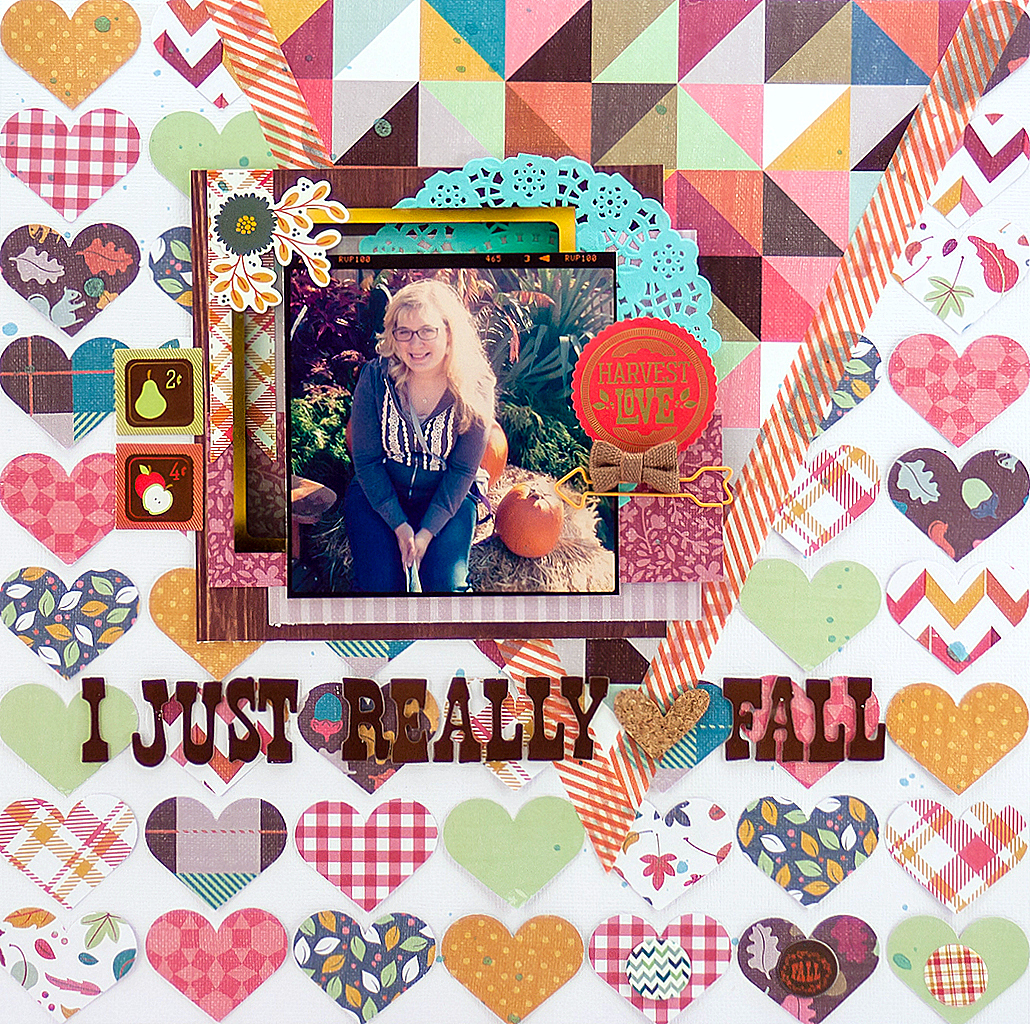 How to design scrapbook using colored paper - Allie Stewart Magical Messes Autumn Scrapbook Layout