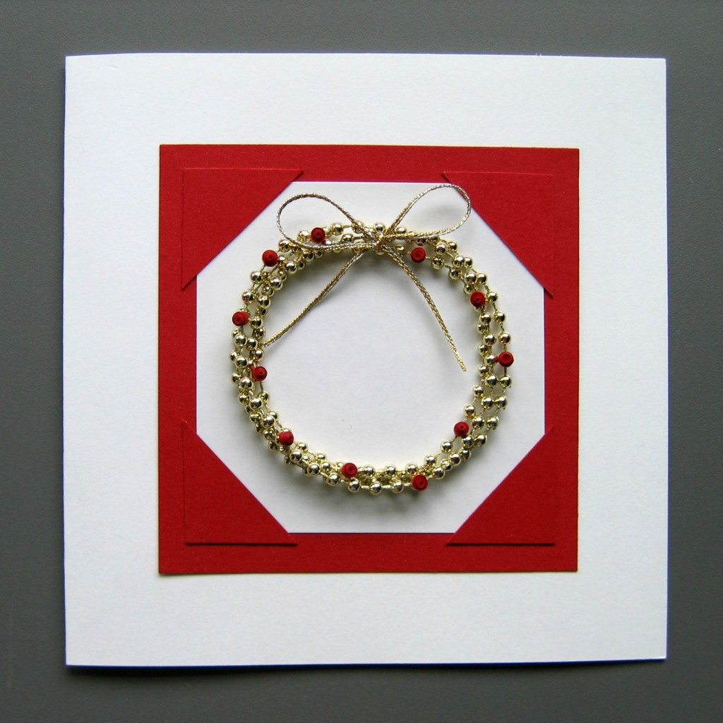 Completed Bead Wreath Card