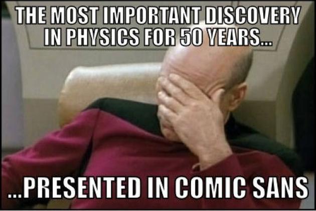 Higgs Boson Comic Sans Facepalm