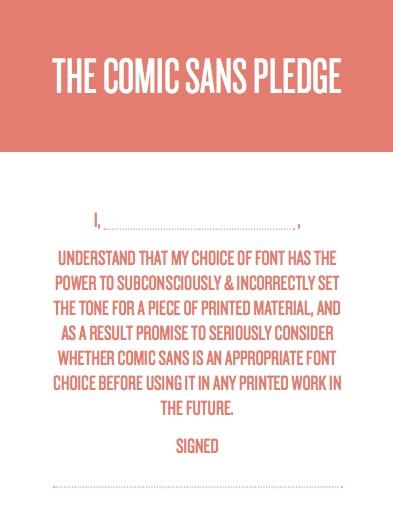 Comic Sans Pledge