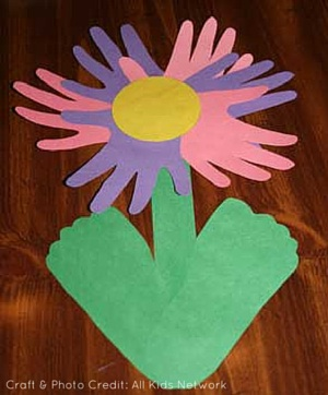 Cutout Handprint Flowers Mothers Day All Kids Network