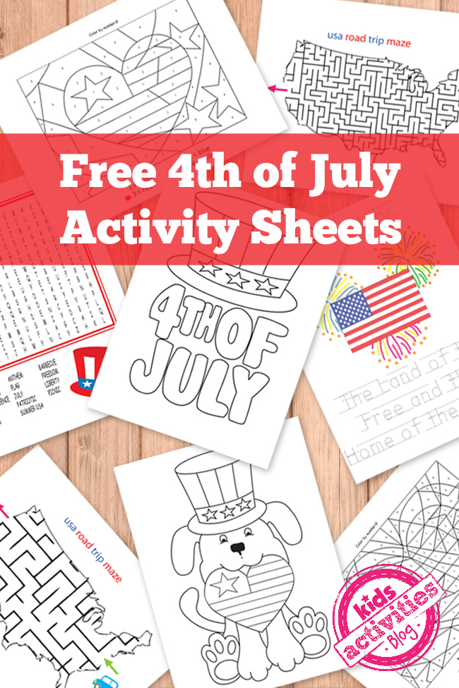 4th of July Kids Activity Sheets