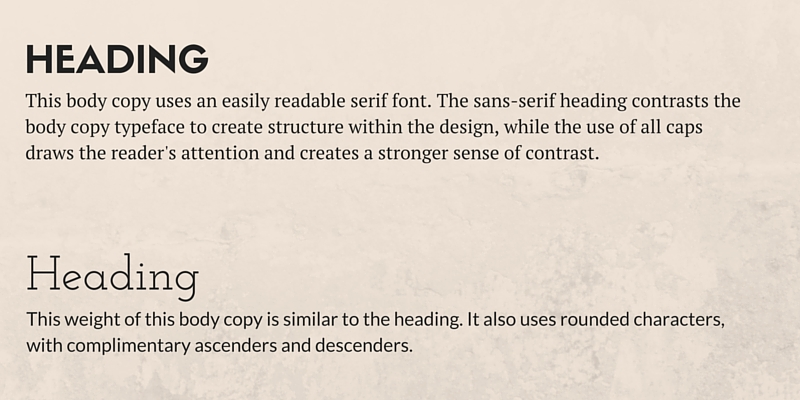 Complimentary Font Styles Type Hierarchy