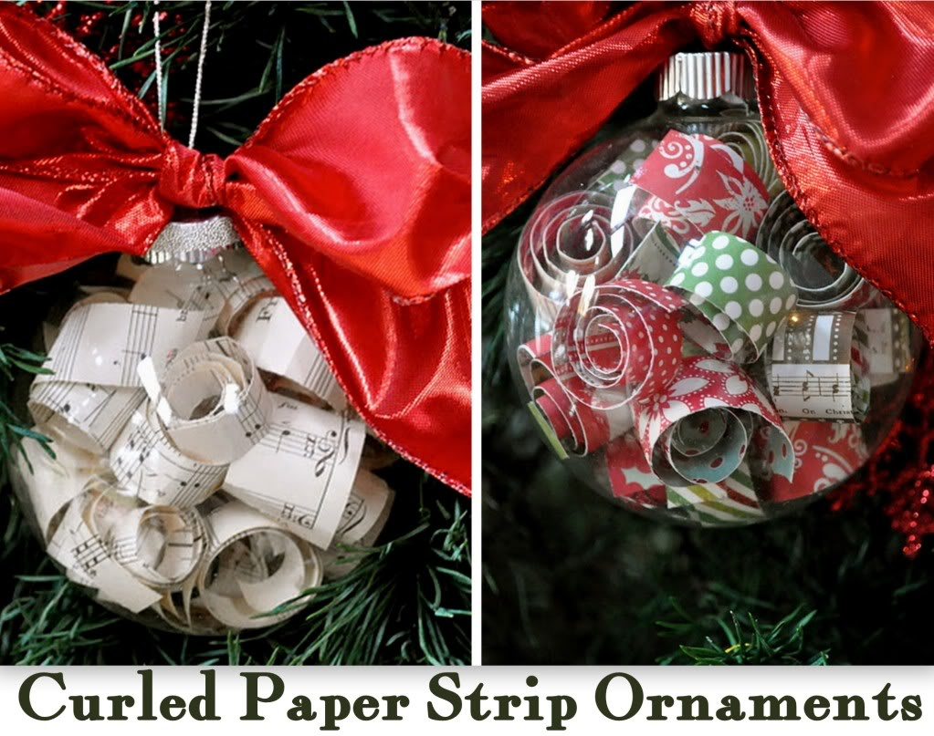 Curled Paper Strip Christmas Ornaments