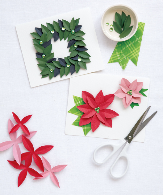 Paper Poinsettia Holiday Cards