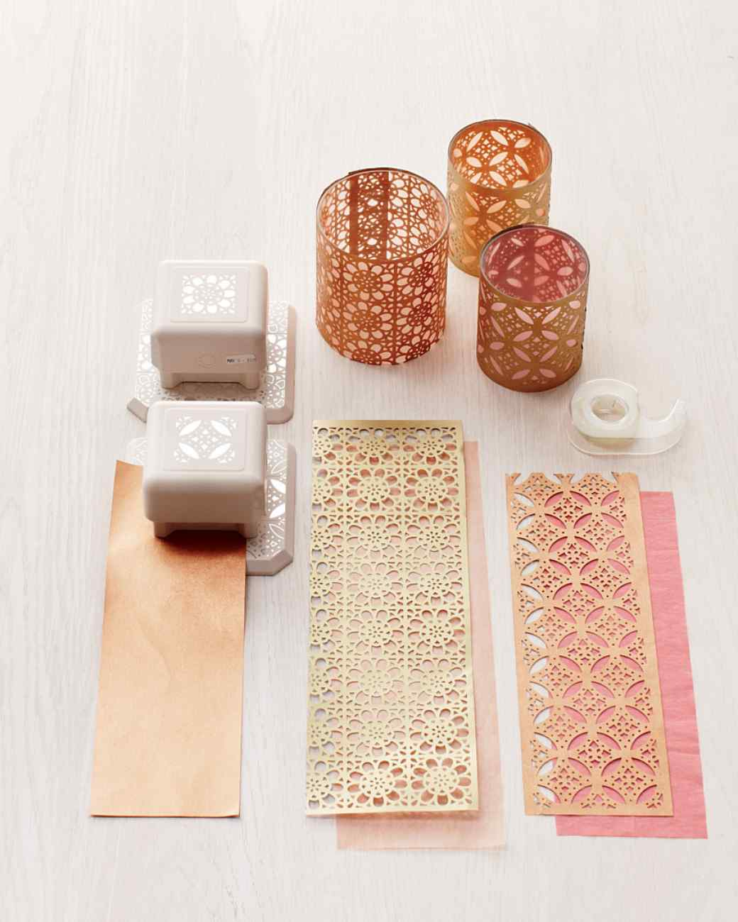 Go glam how to use metallic paper the paper blog for Cardboard candle holders