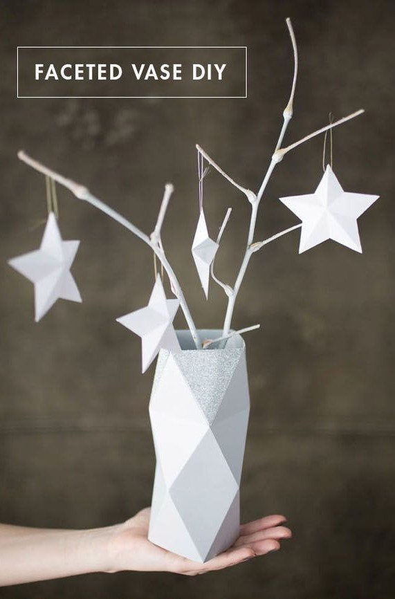 Faceted Paper Vase Christmas Decorations