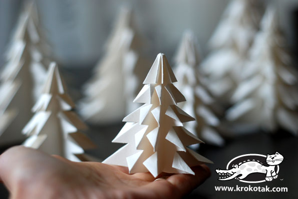 Folded Paper Fir Tree Christmas Decorations
