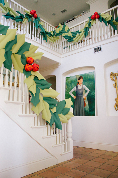Oversized Holly Berry Garland Christmas Decorations