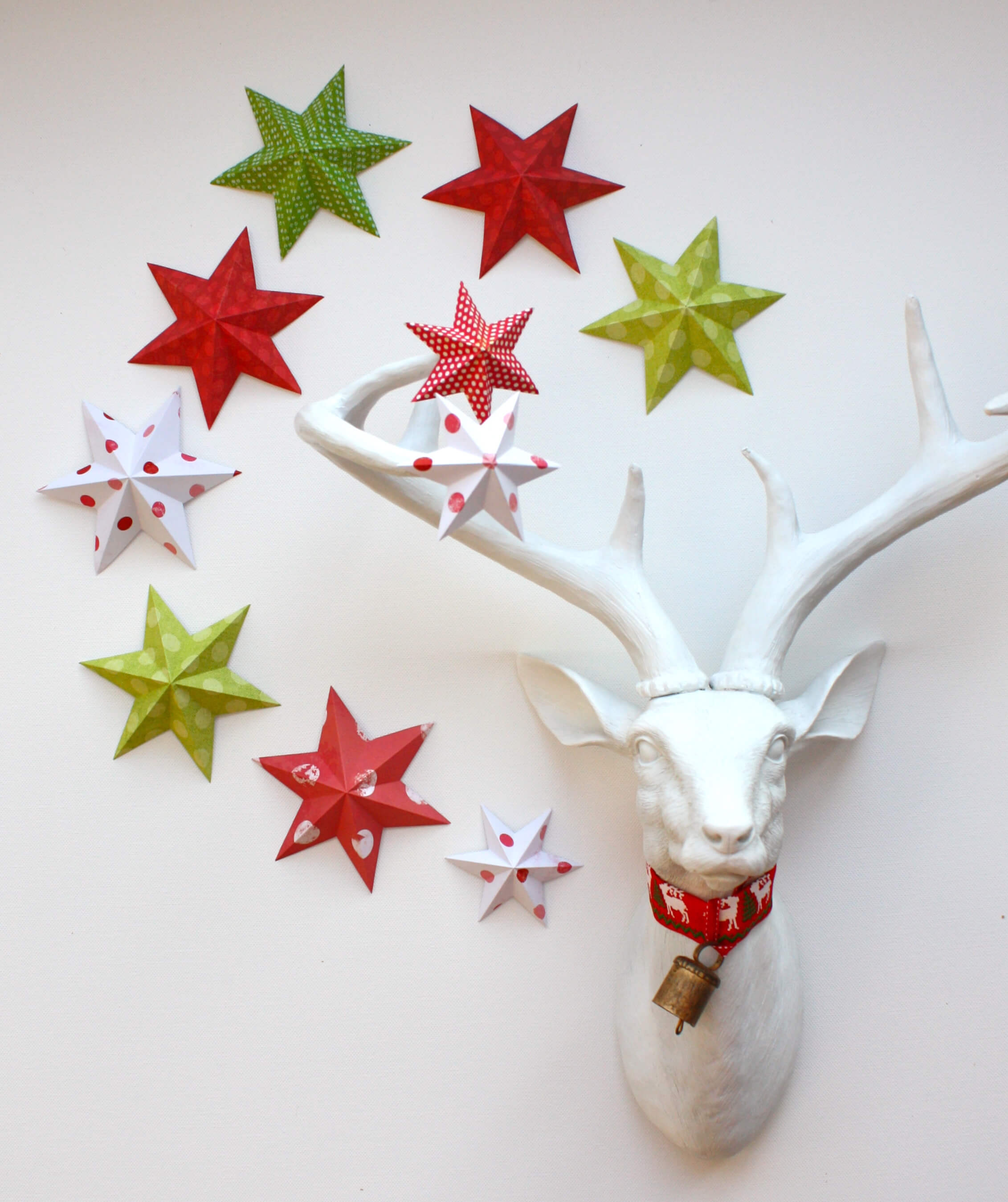 paper wall stars christmas decorations - Easy Paper Christmas Decorations