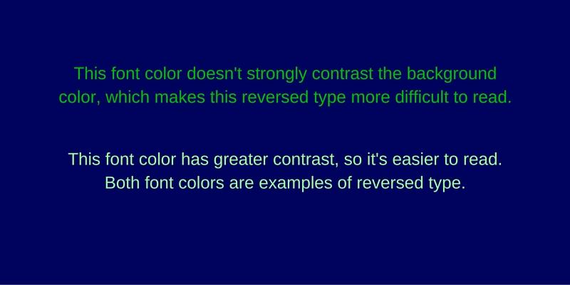 Reversed Type Contrast