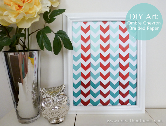 ombre chevron braided paper wall art