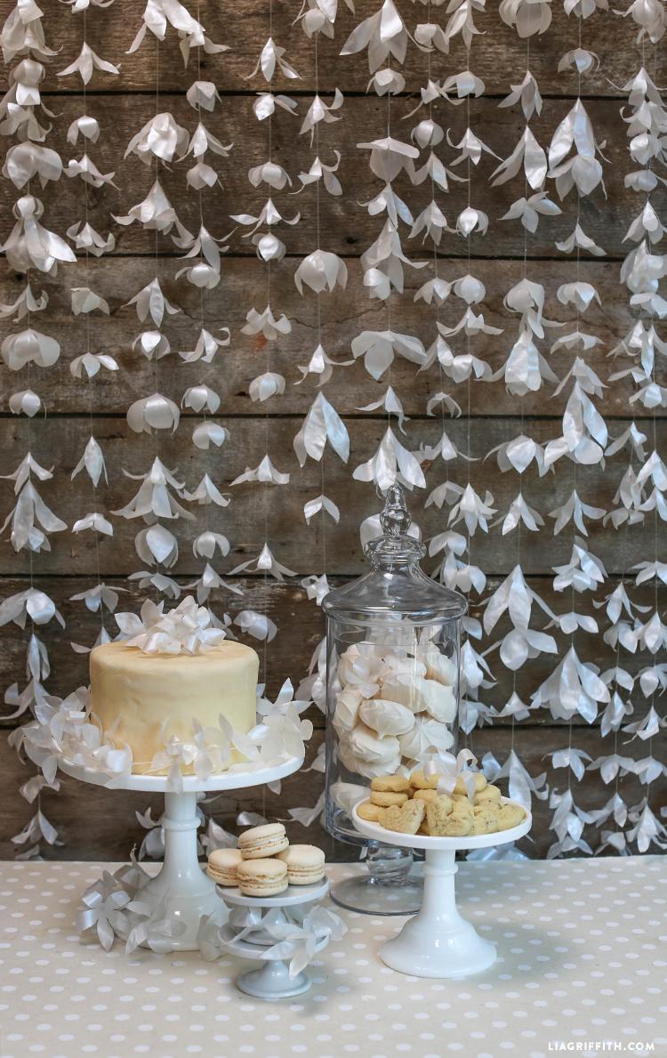 draping paper flower garland diy wedding decorations
