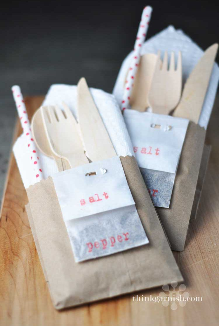 kraft paper silverware pockets