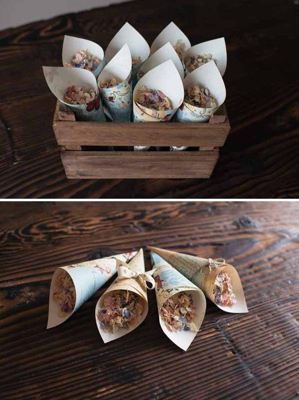 paper confetti cones diy wedding decorations