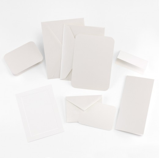 Fine Impressions Rounded Corners White Shimmer Tiffany Invitation Ensemble