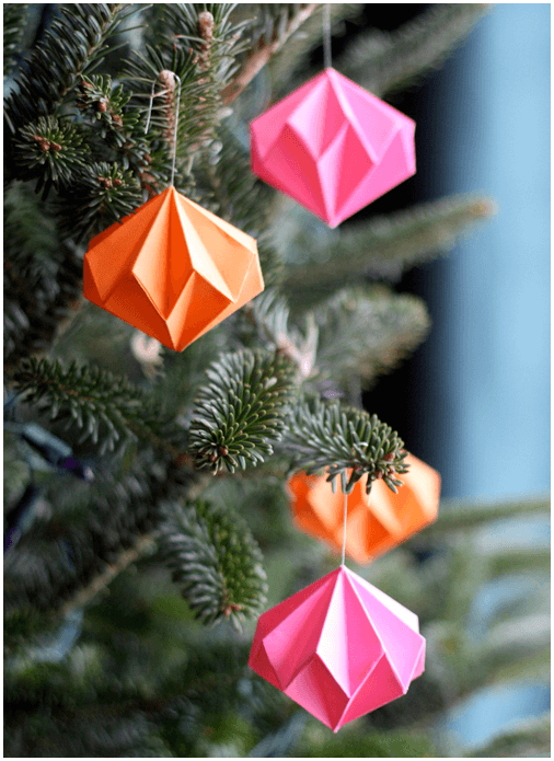 how about orange geometric tree ornaments
