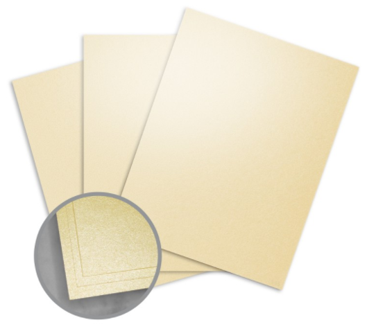 Elan Metallics Gold Card Stock - 8 1/2 x 11 in 107 lb Cover Metallic C/2S 25 per Package