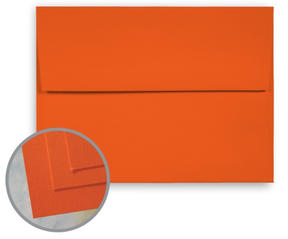 BriteHue Orange Envelopes - A7 (5 1/4 x 7 1/4) 60 lb Text Semi-Vellum 30% Recycled 250 per Box