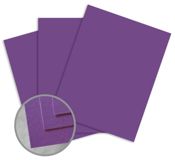 BriteHue Violet Card Stock - 8 1/2 x 11 in 65 lb Cover Semi-Vellum 30% Recycled 250 per Package