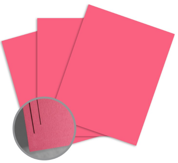ColorMates Deep Pretty Pink Card Stock - 8 1/2 x 11 in 65 lb Cover Smooth 25 per Package