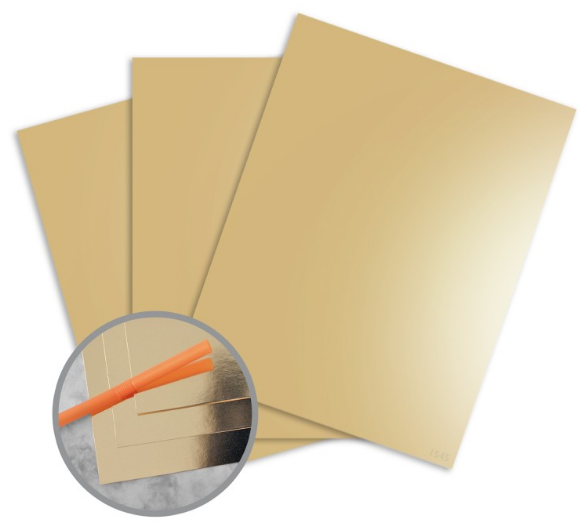 JAZZ Mirror Finish Gold Foil Paper - 12 x 12 in 10 pt Cover 25 per Package
