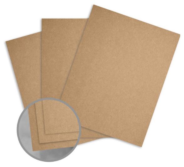 Kraft Brown/Brown Card Stock - 8 1/2 x 11 in 12 pt Cover Fiber 25 per Package