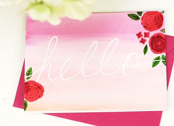 ombre notecard damask love