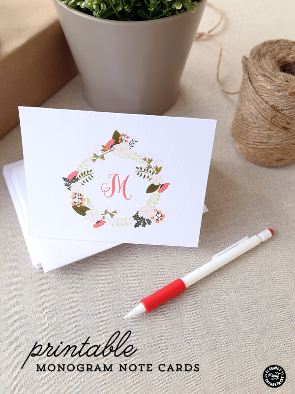 printable monogram notecard elegance enchantment