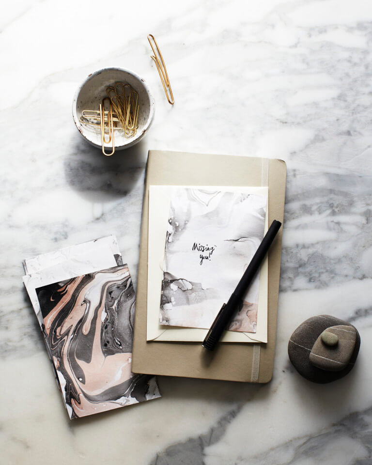 marble notecard cup of jo