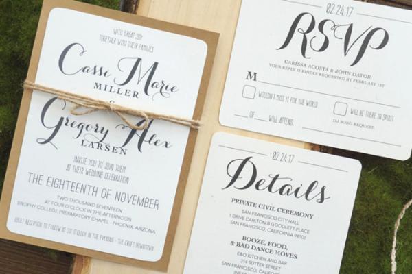 wedding spotlight stationery signature nicole boho chic invitations rsvp cards kraft