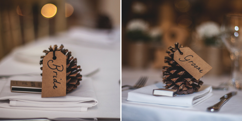 autumn wedding guide pinecone placecard