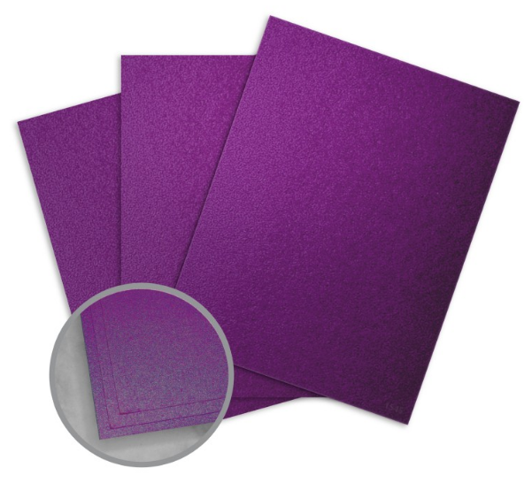 Elan Metallics Plum Card Stock - 8 1/2 x 11 in 111 lb Cover Metallic C/2S 25 per Package