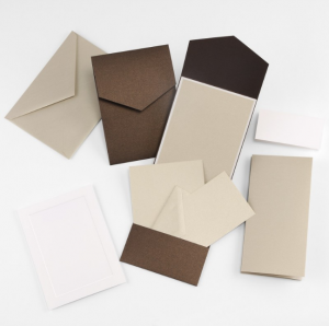 Fine Impressions Mocha Shimmer Pocket Invitation Ensemble