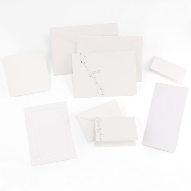 Fine Impressions Silver Leaf White Shimmer Tiffany Invitation Ensemble