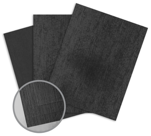 ColorMates Textures Black Denim Card Stock - 8 1/2 x 11 in 105 lb Cover Embossed 25 per Package