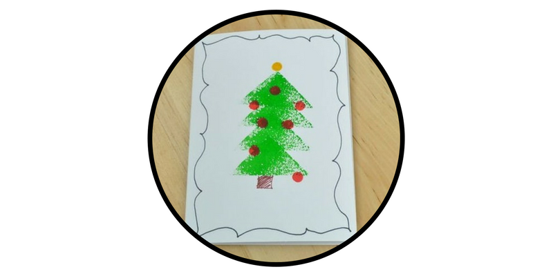 diy holiday cards stamped christmas tree