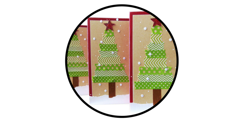 diy holiday cards washi tape trees