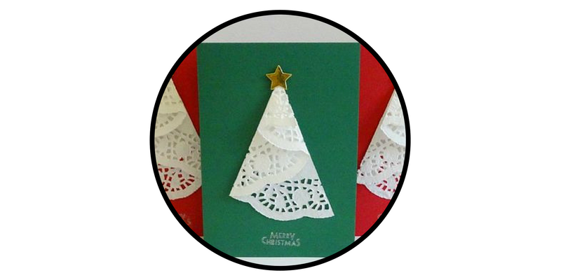 diy holiday cards doily christmas trees