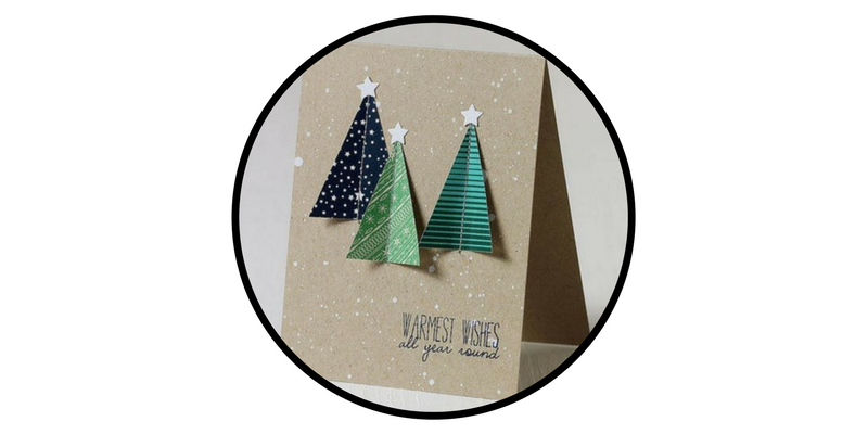 diy holiday cards evergreen trees