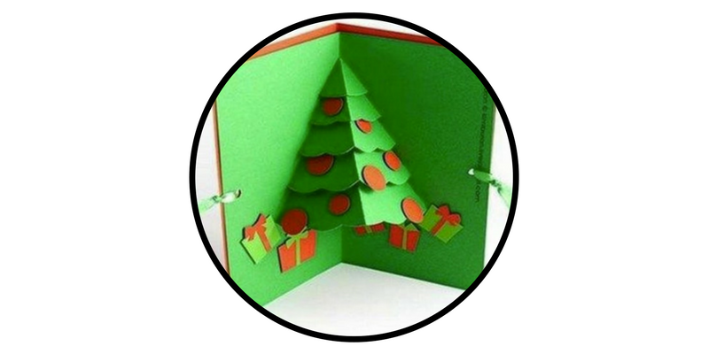 diy holiday cards interior pop up christmas tree