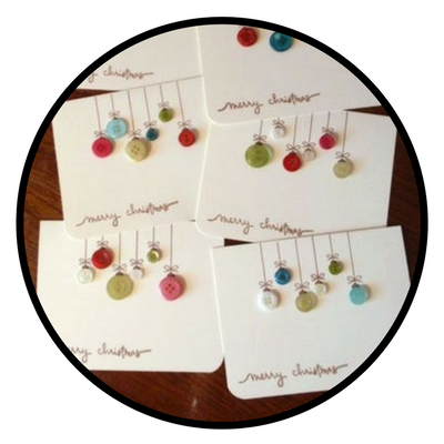 diy holiday card button ornaments