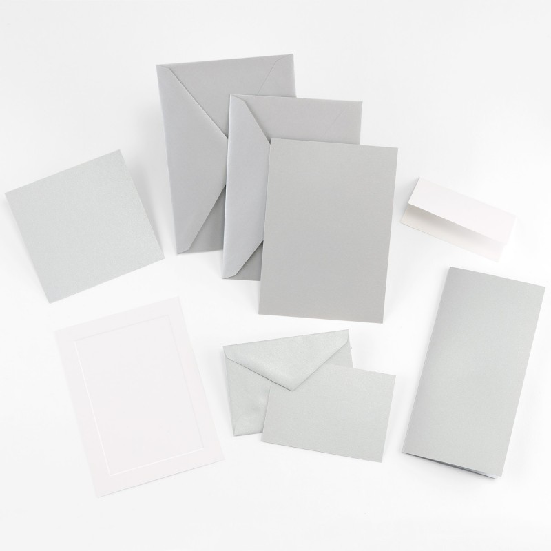 Fine Impressions Jumbo Flat Silver Shimmer Invitation Ensemble
