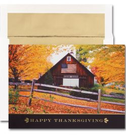 Flag on Barn Thanksgiving Cards