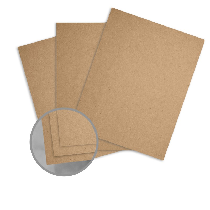 Kraft Brown/Brown Card Stock - 8 1/2 x 11 in 12 pt Cover Fiber 25 per Package