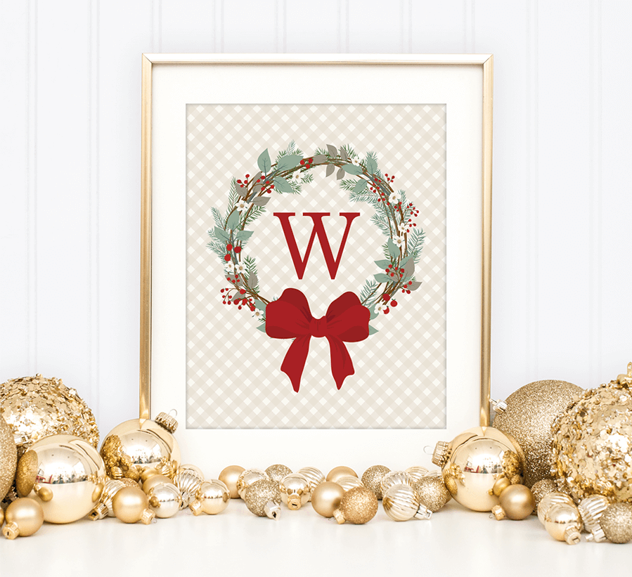 last minute christmas printables monogram wreath chicfetti