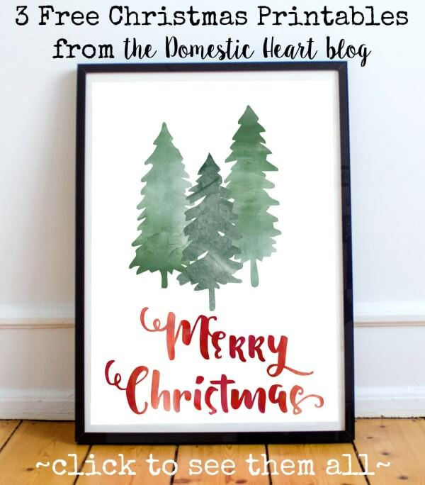 last minute christmas printables watercolor trees domestic heart