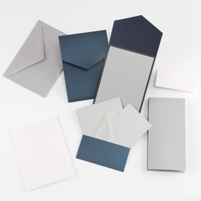 Fine Impressions Navy Shimmer Pocket Invitation Ensemble